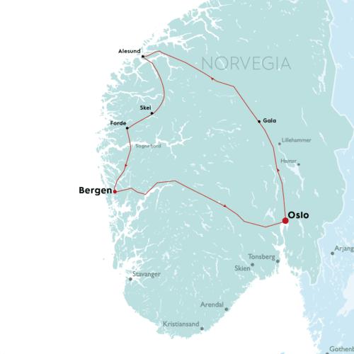 mappa del tour oslo e la magia dei fiordi