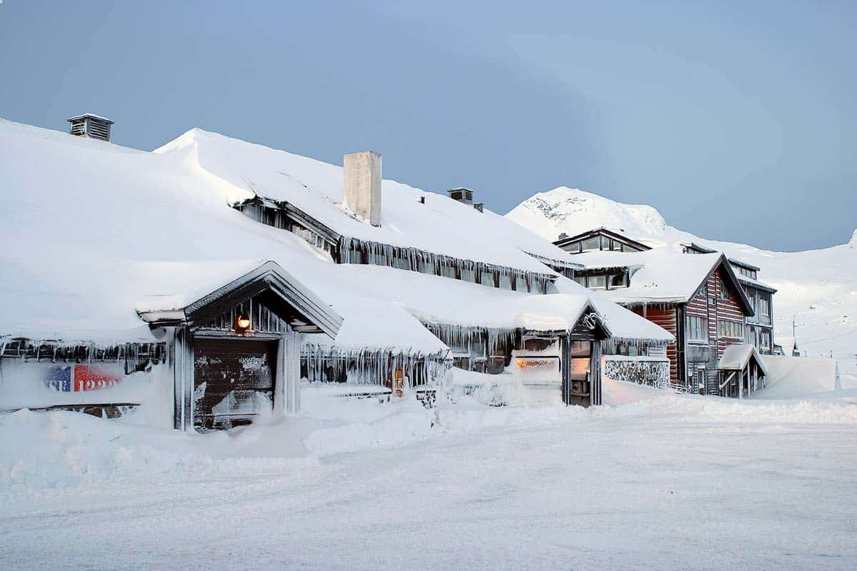 città di finse in norvegia ricoperta dalla neve