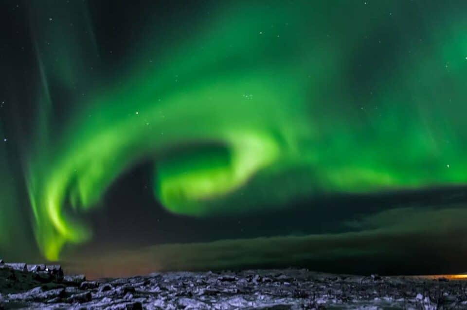 Incontro con l'Aurora Boreale di un viaggiatore